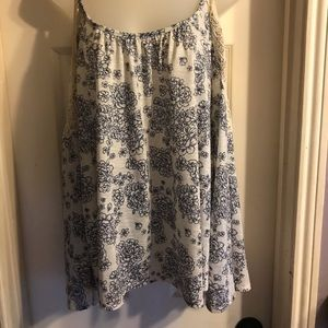 Rewind blue and white cold shoulder top Sz L